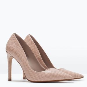 Zara Leather Court Nude Heels NWT