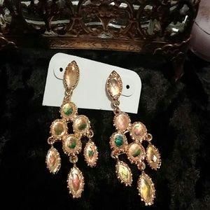 Gold tone chandelier post earrings