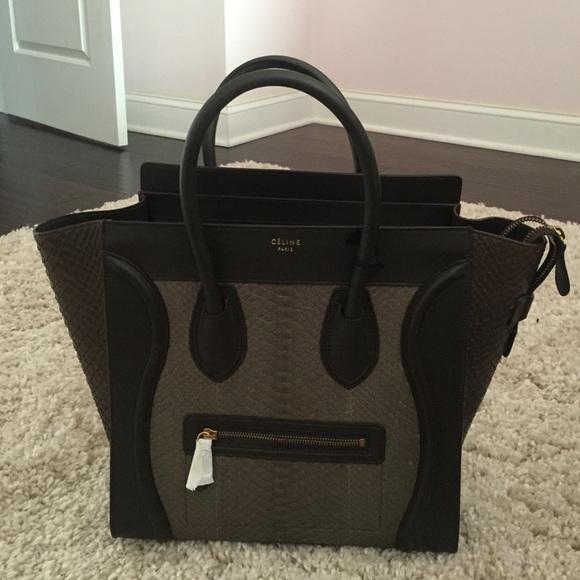 4d469b9f9c94 Celine Handbags - Celine Khaki Python Mini Luggage Tote Bag