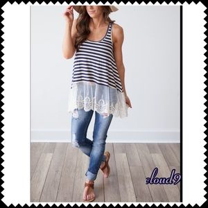 Cloud 9 Tops - Last Gorgeous ~ Navy /Ivory Striped Lace Hem top