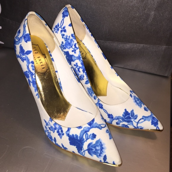Ted Baker Blue And White Floral Heels