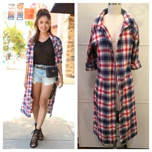 Tops - Long Plaid Shirt