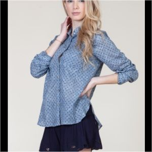 Tops - Clearance! Polka Dot Chambray Shirt