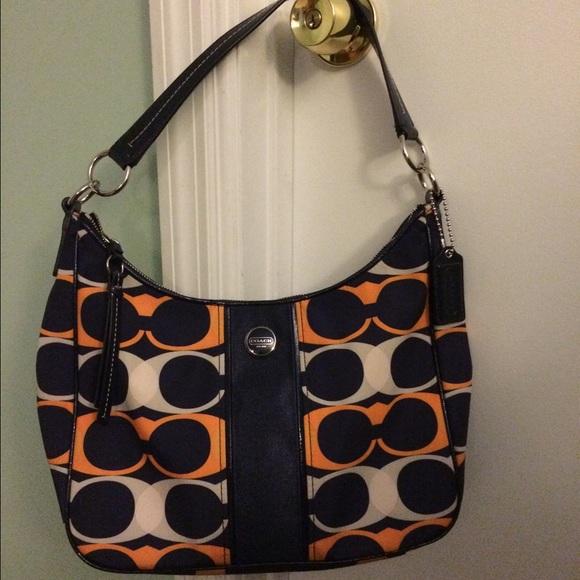 Coach Handbags - Coach Signature Stripe Linear Navy Blue   Orange 1bb2842cc4b69