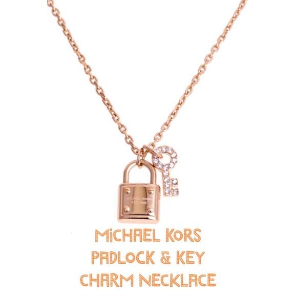 3f94ca64636a7 Michael Kors Padlock Key Charm Necklace New. M 55427b64fbf6f904980018e8