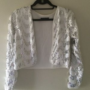 Hot & Delicious Jackets & Blazers - White and grey sequins jacket