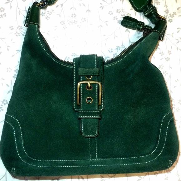 75% off Coach Handbags - Coach Emerald Green Hampton Suede ...