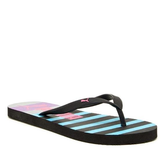 Black Pink Blue Puma Flip Flops Size 6 Women s 453627a7f4