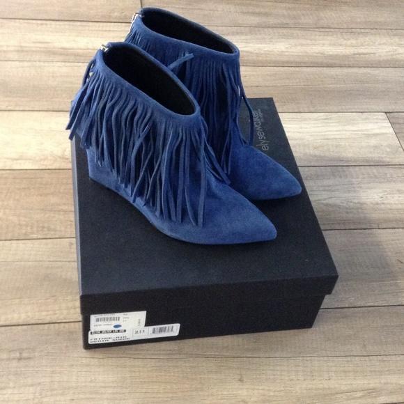 71% off Elyse Walker Boots - New Elyse Walker Blue Suede fringe ...