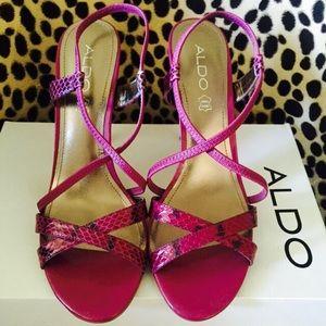 Aldo pink spike heel animal print sandals.