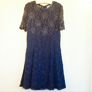 Vintage Beaded Navy Blue Dress