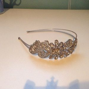 Flower Cluster Jeweled Silver Headband