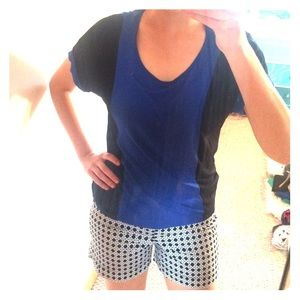 Blue and black Color Block Top