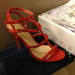 Wild diva lounge red studded heels size 10