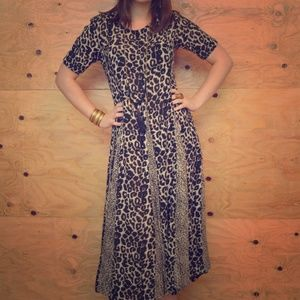 Vintage 80's Leopard Paneled Summer Dress SZ M/L