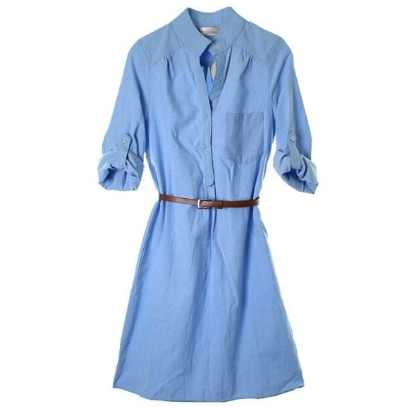 Light denim dress shirt top collared brown belt