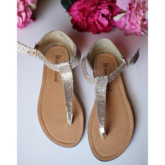 d0803525a5e44c Tan Sparkle thong sandals t strap silver