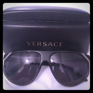Black Versace polarized sunglasses.