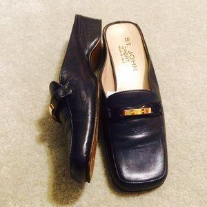 St. John Shoes - St John Navy Blue Loafer Slides
