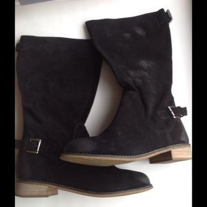KELSI DAGGER Tassie Black Suede Riding Boots NEW