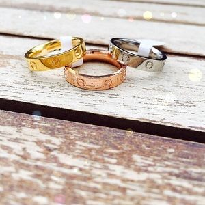 Jewelry - Rose gold, silver & gold Love rings size 6 ONLY