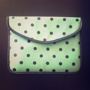 Mint polka dot tablet/IPad case
