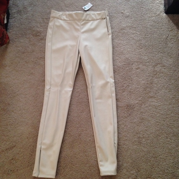 Express Pants - Express Cream Faux Leather Beige Pants