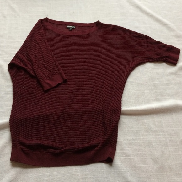 Express Sweaters - Express Maroon Dolman Short Sleeve Sweater
