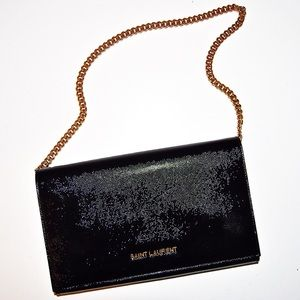 Saint Laurent YSL Letters Chain Clutch in Patent