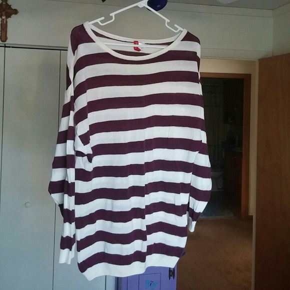 Divided - Cute maroon & white striped sweater from Ashley's closet ...