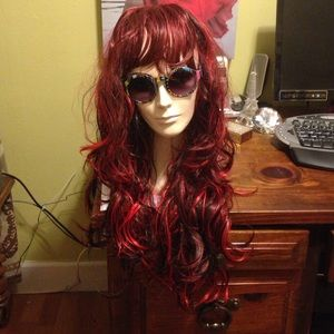 Other - Ombré Red Burgundy Black Long Wig With Bangs