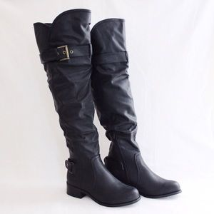 Black Pleather Over-The-Knee Boots