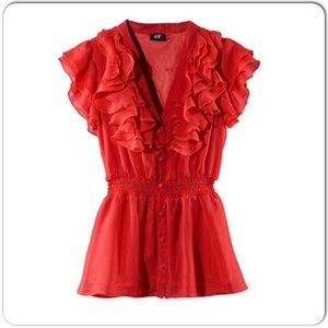 ⚡️H&M Red Ruffle Blouse