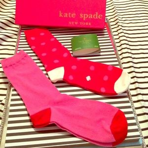 💯%Auth KATE SPADE 2 Pair Trouser Socks-Maraschino