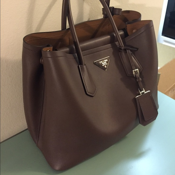 23% off Prada Handbags - Prada City Calf Double Bag Tote in Cacao ...