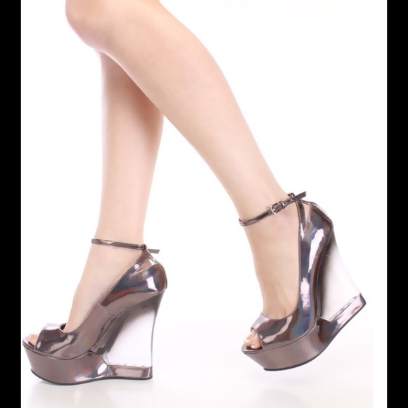 5818c451379 Pewter hologram wedges with clear heel CLOSEOUT!!