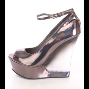 06174f4c127 Liliana Shoes - Pewter hologram wedges with clear heel CLOSEOUT!