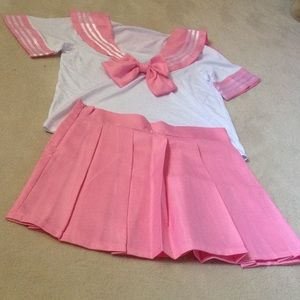 Dresses & Skirts - Pink School girl Cosplay costume pleated skirt