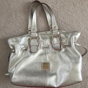 Authentic Silver Dooney & Bourke bag with Red Trim