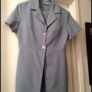 Light Blue Short Sleeve Blazer Mini Skirt Suit