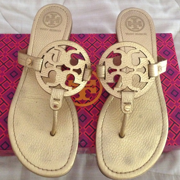 1a5a6fe624ca Authentic Gold Tory Burch Miller Sandals GUC (9). M 5545010d397c62200d007c81