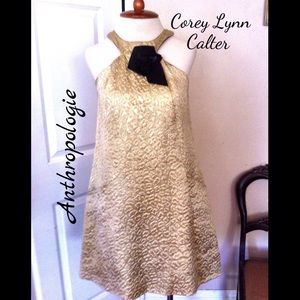 ✨Corey Lynn Calter Anthro Gold Texture Dress✨