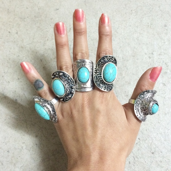 Vintage silver plated adjustable turquoise rings