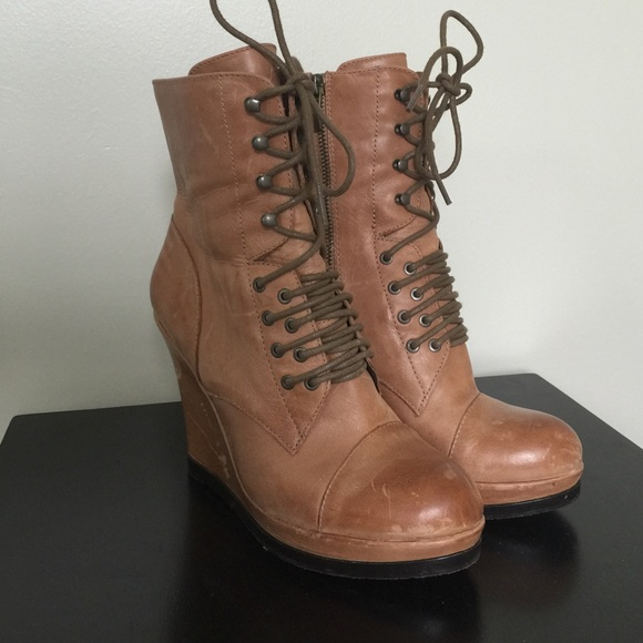 75% off Vince Camuto Boots - Vince Camuto Wedge Lace up Booties ...