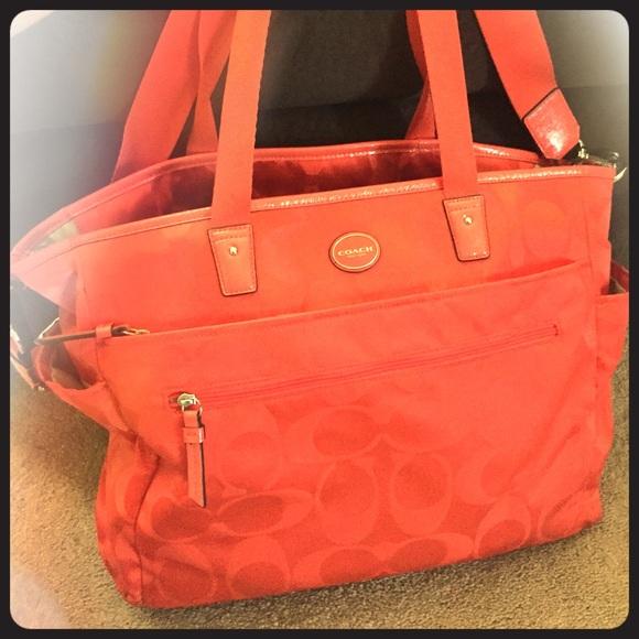 44 Off Coach Handbags Bright Orange Coach Diaper Bag