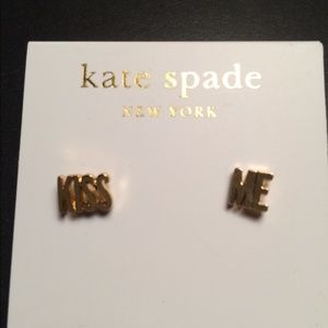 "New gold Kate Spade ""KISS ME"" earrings"