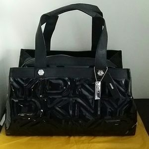 Dkny Bags Xl Quilted Patent Logo Tote Bag Poshmark
