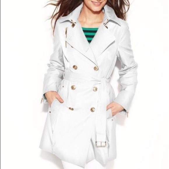 buying new online sale dependable performance Michael Kors white trench coat NWT