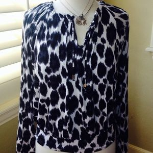 Michael Kors Tops - Michael Kors Boho Animal Print Oversized Top