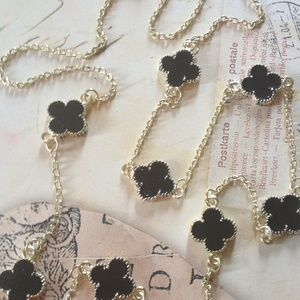 Jewelry - ️NWT Long Black Clover Necklace - SILVER